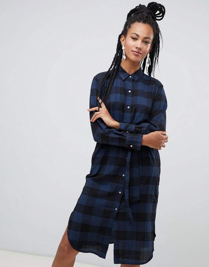Checked Midi Shirt Dress