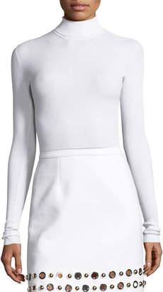 Michael Kors Ribbed Long-Sleeve Turtleneck Sweater, White