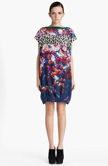 MSGM Mixed Print Silk Dress