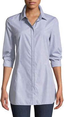 Lafayette 148 New York Jake Button-Front Long-Sleeve Cotton Shirting Blouse