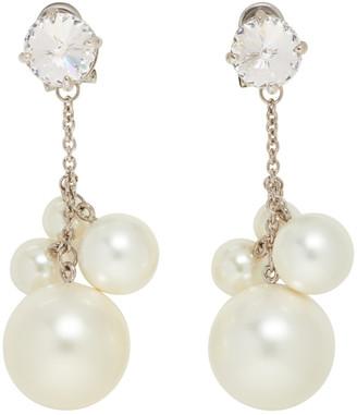 Miu Miu Silver and White Crystal Pearl Earrings