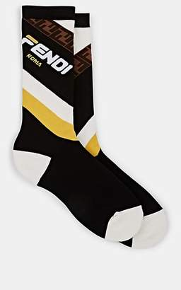 Fendi Men's Logo-Print Cotton-Blend Mid-Calf Socks - Black Pat.