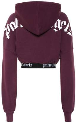 Palm Angels Cropped cotton hoodie