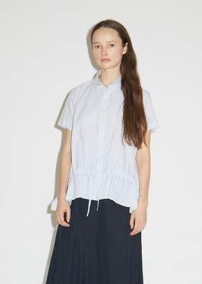 Y's Cotton Gathered Button Front Shirt