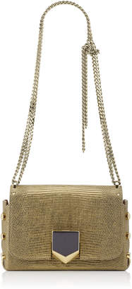 Jimmy Choo LOCKETT PETITE Antique Gold Metallic Lizard Shoulder Bag