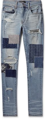 Amiri Skinny-Fit Panelled Distressed Stretch-Denim Jeans - Men - Blue