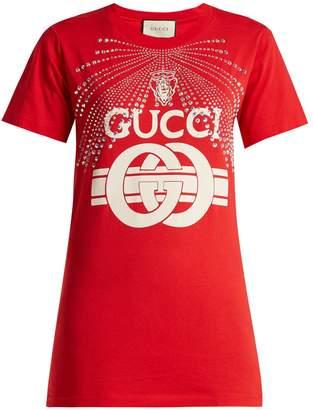 Gucci Logo-print crystal-studded T-shirt