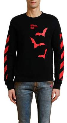 Off-White Men's Diagonal Bats Graphic Slim Long-Sleeve Crewneck Sweatshirt