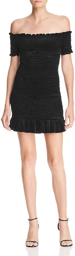 Smocked Off-the-Shoulder Velvet Dress