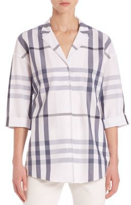 Lafayette 148 New York Anale Plaid Button-Front Blouse $328 thestylecure.com
