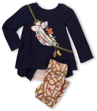 Juicy Couture Infant Girls) Two-Piece Long Sleeve Top & Printed Leggings Set