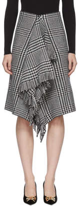 Balenciaga Black and White Wool Fringe Skirt