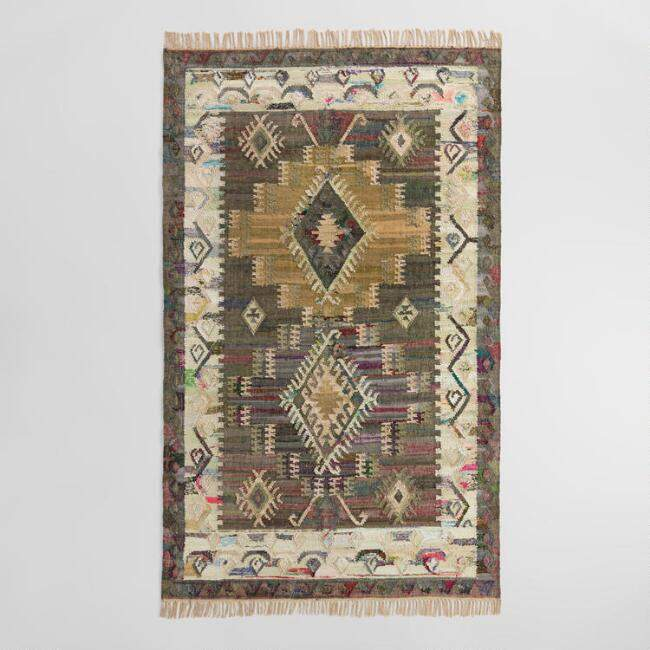World Market Gray Diamond Cotton Kilim Taja Area Rug
