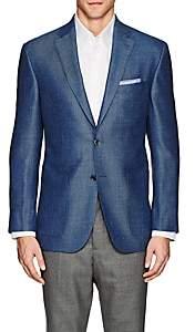 Piattelli MEN'S WOOL-BLEND HOPSACK TWO-BUTTON SPORTCOAT - BLUE SIZE 42 L