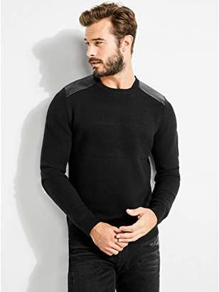 GUESS Men's Long Sleeve Honeycomb Stitch Sweater