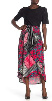 Laundry by Shelli Segal Sarong Tie Front Midi Skirt
