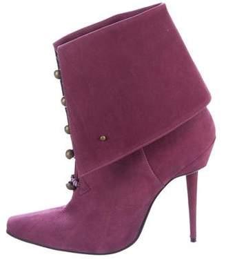 Manolo Blahnik Nubuck Square-Toe Boots