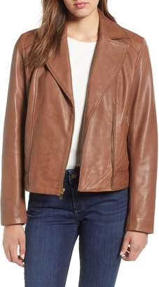 Cole Haan Drum Dyed Leather Moto Jacket