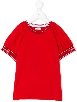 Dolce & Gabbana branded puff-sleeve top