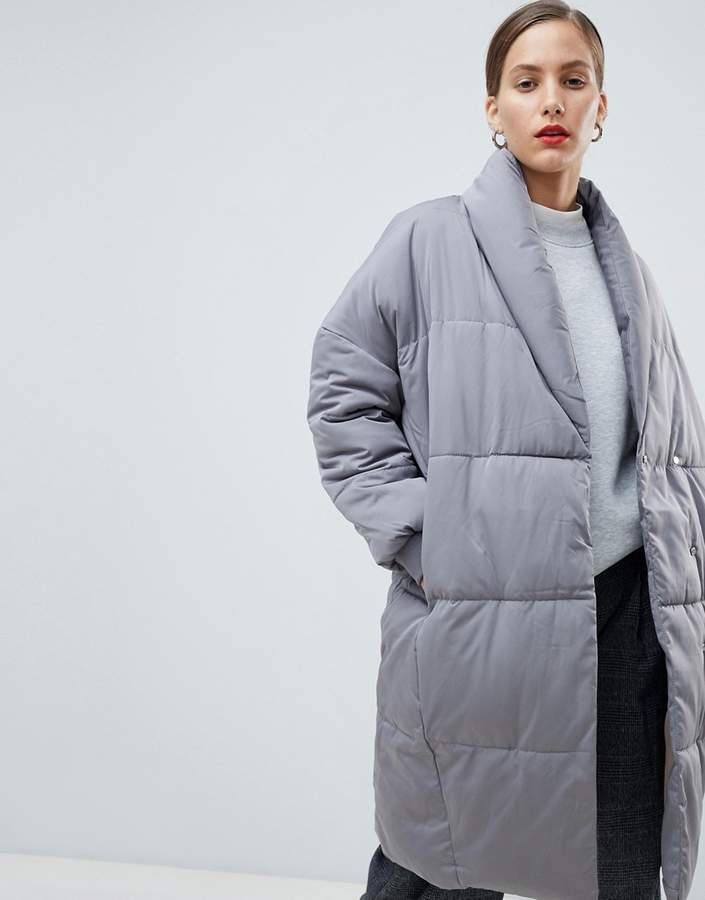 Native Youth Longline Puffer Jacket With Contrast Lining