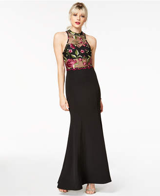 Sequin Hearts Juniors' Embroidered Mesh Crepe Gown
