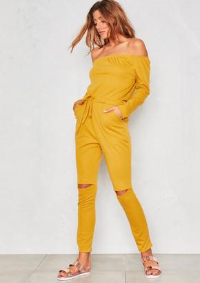 31d9c7c621b Missy Empire Missyempire RiRi Mustard Off The Shoulder Jumpsuit