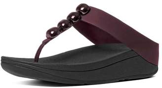 FitFlop Womens Rola Toe-Thong Red Leather Sandals 9 US