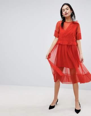Asos DESIGN Tulle Midi Dress with Ruching
