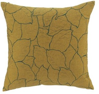 DecMode Decmode Modern 17 X 17 Inch Mustard Yellow Throw Pillow With Leaf Patterns