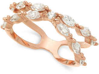 Charter Club Rose Gold-Tone Crystal X-Band Ring