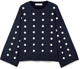 MICHAEL Michael Kors Oversized Embellished Cotton Sweater - Midnight blue