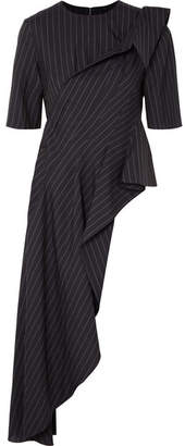 Monse Asymmetric Draped Pinstriped Wool-crepe Top - Navy