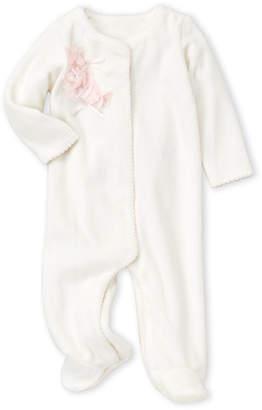 Baby Essentials Miniclasix (Newborn Girls) Ivory Flower Velour Footie