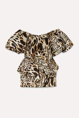 Alexandre Vauthier Off-the-shoulder Ruffled Animal-print Silk Mini Dress - Leopard print