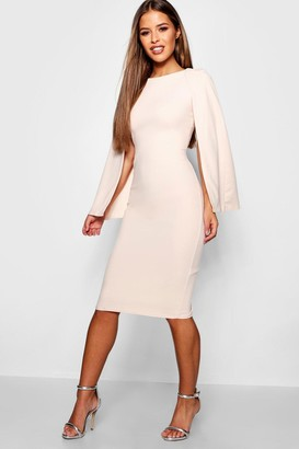boohoo Petite Cape Sleeve Midi Dress