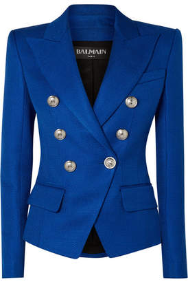 Balmain Double-breasted Woven Blazer - Blue