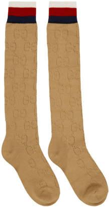 Gucci Beige Tall Spring GG Socks