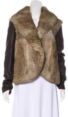 Veda Fur-Trimmed Leather Jacket