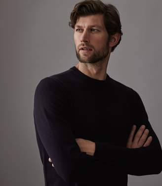 Reiss MAURICE CREW NECK JUMPER Navy
