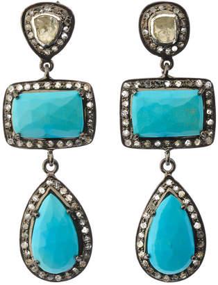 Bavna Black Silver 2-Drop Geo Earrings with Turquoise & Polki Diamonds