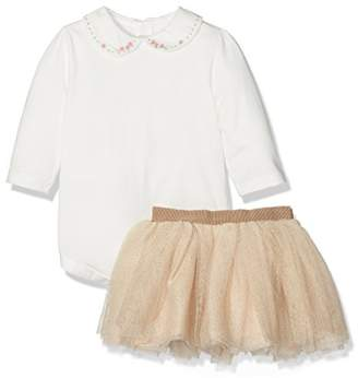 Mamas and Papas Baby Girls 2 Pack Gold Tutu & Pink Dobby Blouse Plain Long Sleeve Blouse
