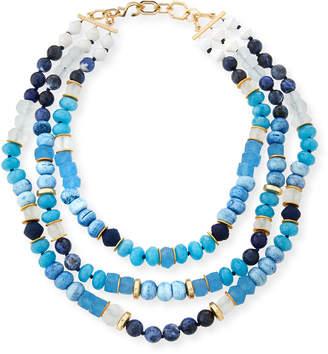 Neiman Marcus Akola Triple-Strand Blue Beaded Necklace