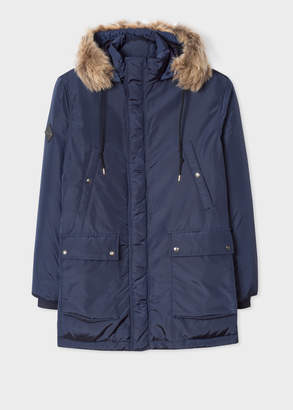 Paul Smith Men's Navy Down-Filled Parka With 'Artist Stripe' Cuff Lining