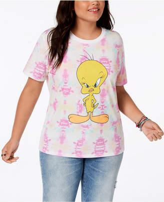 Hybrid Plus Size Tie-Dyed Tweety Bird T-Shirt