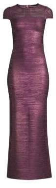 Herve Leger Sleeveless Illusion Mesh Bandage Gown
