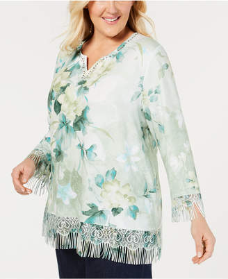 1764b190976c9 ... Alfred Dunner Plus Size Greenwich Hills Printed Fringe Sweater