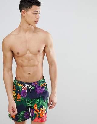 Polo Ralph Lauren Traveller Jungle Tropical Print Swim Shorts Player Logo in Black