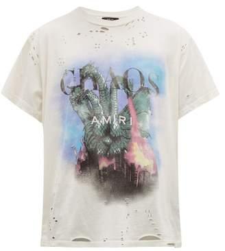 Amiri City Dragon Cotton T Shirt - Mens - White Multi