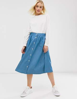 Minimum Moves by button denim midi skirt