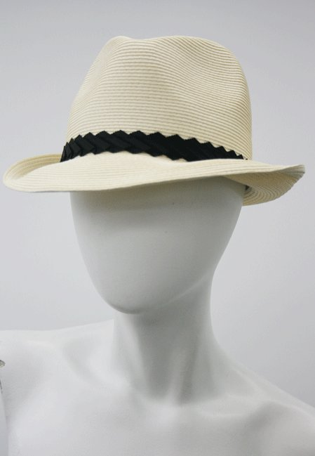 Eugenia Kim Toyo Pleated Black Ribbon Straw Fedora in Ivory